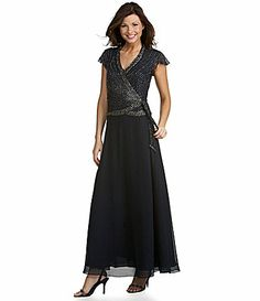 Jkara Beaded Chiffon Gown - don't like sleeves or navy color Mob Dresses, Modest Dresses, Plus Size Dresses, Bridesmaid Dresses, Formal Dresses, Wedding Dresses, Bride Dresses, Formal Wear, Beaded Chiffon