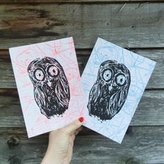 Owls on vintage London maps in pop colours. 15 x 21 cm London Map, Vintage London, Owls, Screen Printing, Color Pop, Colours, Prints, Art, Screen Printing Press