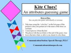 FREEBIE Friday: Kite Clues! An Attributes Guessing Game