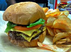 Jake Cheeseburger and house made chips at Jake's Wayback Burgers in New Castle, DE.