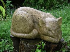 Lancaster limestone Garden Or Yard / Outside and Outdoor sculpture by artist Vega Bermejo Castelnau titled: 'Sleeping Cat (Carved stone Lying Dozing Day Dreaming Carving statue)'