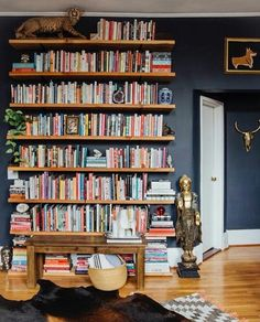 Colorful bookshelf and blue walls.