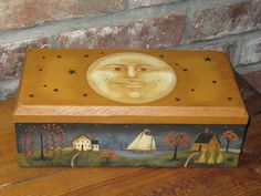 New England Folk Art Wooden Keepers Box-NEW ENGLAND, FOLK ART, WOODEN, KEEPERS BOX, Handmade, Box Painted,