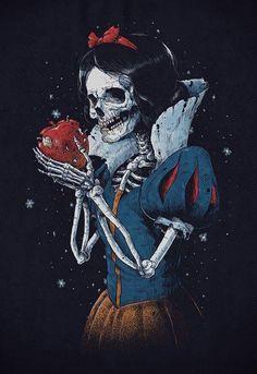 Dark fairy tales dead snow, skull and bones, skull art, punk disney, Anime Disney, Disney Horror, Deviantart Disney, Arte Horror, Horror Art, Princesses Disney Zombie, Twisted Disney Princesses, Dark Fantasy Art, Dark Art