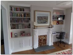 by exeter based carpenter specialising in alcove units and built in storage Home Living Room, Room Design, Dining Room Small, Dining Room Design, Living Room Shelves, Home Decor, Desk In Living Room, Alcove Ideas Living Room, Victorian Living Room