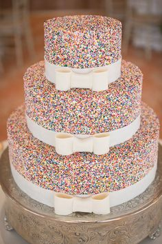 Sweet Slices: Feast your eyes on 24 of our favorite unique wedding cakes! Orrrr, that sprinkle cake would make an amazing birthday cake Sprinkle Wedding Cakes, Crazy Wedding Cakes, Unique Wedding Cakes, Unique Weddings, Wedding Ideas, Unique Cakes, Trendy Wedding, Elegant Cakes, Sprinkle Cakes