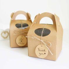 "Personalised Gable Box Kit 4"" (10 cm) ~ Set of 10 ~ Wedding Favour Boxes ~ Bomboniere ~ Cupcake Cake Box ~ Baby Shower ~ Bakery Packaging"