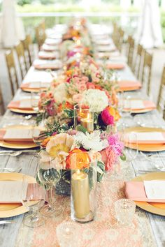 This stunning floral runner by @flwrgirlcaprice was the perfect finish for our new favorite white washed farm tables by @southernevents. It's like this table just stepped right out of the pages of @iloveswmag and into the pavilion of CJ's Off the Square!   CJ's Off the Square, Coral Gold and Pink a Very Marry Occasion, Amy Nicole Photo (18) #weddingcandles