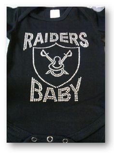Raiders Baby Rhinestone Onesie  12 36cdbf020