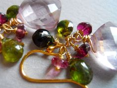 Pink Grapefruit quartz green garnet and pink cluster earrings by Sueanne Shirzay