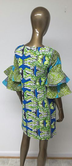 AYAWAX Collection. African Print Shift Mini Dress. Tiered Bell