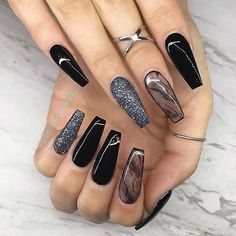 we like to browse with you the most amazing Trendy Black Coffin Nails Art Styles and ideas for this year that you can copy and try. Our top black coffin nails are packed with glitter black nails, ombre, marble nail art and more. Black Acrylic Nails, Black Coffin Nails, Best Acrylic Nails, Summer Acrylic Nails, Glitter Nail Art, Nail Black, Black Glitter Nails, Cute Black Nails, Pink Coffin