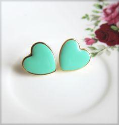 Turquoise Heart Earrings Stud Gold Post Earrings Aqua Hearts Tiffany Blue Mint Green Heart Earrings Wedding Bridesmaids Gift Bridal Jewelry. $15.00, via Etsy.