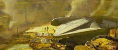 Designing Solo: A Star Wars Story, Part Making Lando's Millennium Falcon Millennium Falcon, Star Wars Sith, Star Trek, Lando Calrissian, Last Jedi, Concept Art, Stars, Painting, Design