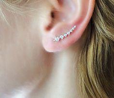 Sterling Silver ear cuffs, silver ear pins, gold fill earcuff, diamond earcuffs, Rose gold earrings, silver cuff earrings, wrap earrings