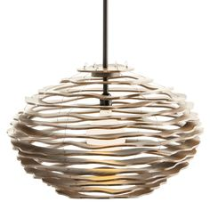 Rook Pendant mix of contemporary shape and organic materials. Made of Grey washed wood carved in imperfect, undulating circles. Each of the concentric circles appears to float, but they are secure with filament wire. Small: One 60 watt, 120 volt A19 type Medium base incandescent bulb is required, but not included. 24 inch width x 15 inch height x 51 inch maximum length. Large: Six 60 watt, 120 volt B10 type base incandescent bulb is required, but not included. 35 inch diameter x 24 inch…