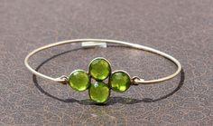 Peridot Four Gemstone Attached Bangle Cuff by gemsnjewelryworld