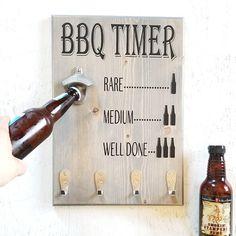 BBQ Timer Sign Gift for Men Grilling Gift Beer Bottle