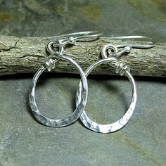 City Lights Ovals - Sterling silver oval hoops everyday earrings   ....from LavenderCottage on Etsy
