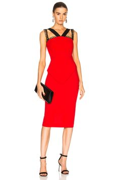 Roland Mouret Malton Double Wool Crepe & Embroidered Lace Trim Dress in Poppy Red & Black | FWRD