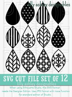 SPECIAL NOTES: >Please note that these are NOT earring specific designs. Make sure you know your cutters capabilities with intricate designs when using a thicker media. >Zip files must be unzipped after download. If unable to download zip files, contact us to have files emailed to you.
