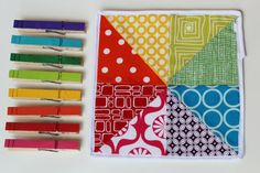 color square and clips - Fabric pinwheel square and matching clothespins to clip.