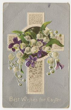 Vintage Easter Postcard Cross Lily of The Valley Purple Violets Flowers 1910 | eBay