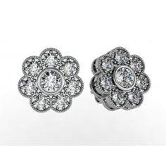 Milgrain Diamond Stud Earrings set in 18K White Gold. (2 ctw) $2,600.00