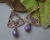 Copper and Green jade earrings Wire wrapped earrings Copper wire earrings Wire wrapped jewelry Handmade earrings Unique Gift for women - Copper Wire wrapped earrings Copper wire earrings Green Jade Earrings, Copper Earrings, Unique Earrings, Copper Jewelry, Wire Jewelry, Earrings Handmade, Handmade Jewelry, Copper Wire, Handmade Copper