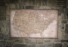Modern map of USA 51''x31''/ 130x79cm ready to hang pull by Zmaps