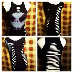 "OOAK DiY reconstructed ""Nightmare Before Christmas S Slashed Shirt"