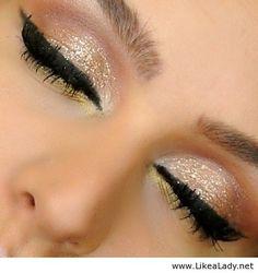 Neutral sparkle for eye makeup