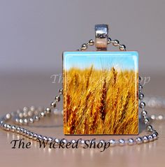 Scrabble Tile Pendant Necklace  Prairie Wheat by TheWickedShop