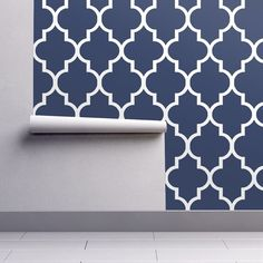 Blue Wallpaper – Classic Navy/White Quatrefoil by Willow Lane Textiles – Spoonflower Custom Printed Removable Self Adhesive Wallpaper Roll – Home Office Wallpaper Classic Wallpaper, White Wallpaper, Wallpaper Roll, Peel And Stick Wallpaper, Custom Wallpaper, Swatch, Office Wallpaper, Hallway Wallpaper, Blue Wallpapers