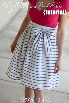High-Waisted Sash Skirt Tutorial | 33 Simple Spring Sewing Projects For Beginners