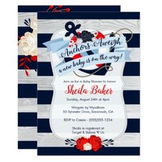 Nautical Baby Shower Invitation - Sailor Theme - invitations custom unique diy personalize occasions