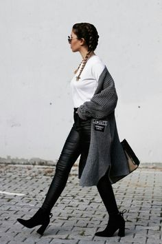 """parisfashionn:  """"• Grey Patch Detail Collarless Rolled Cuff Cardigan  • Cuffed Loose White T-shirt  • Black PU Skinny Pants With Pockets  •  Black Suede Pointed Toe Back Zipper Ankle Boots  """""""