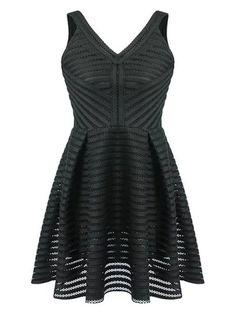 Black Sheer Stripe V-Neckline Sleeveless Skater Dress