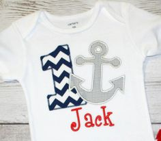 Boys or Girls Chevron Anchor Nautical Birthday Applique Shirt-- Navy Chevron Birthday- Photo Prop, Cake Smash, First Birthday Shirt on Etsy, $28.00