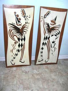 Vintage Mid Century Modern Harlequin Jesters Wall Hangings Pair Wood Large