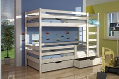 Kate Brand New WHITE/PINE/BLUE WOODEN Bunk Bed with Mattresses & Storage