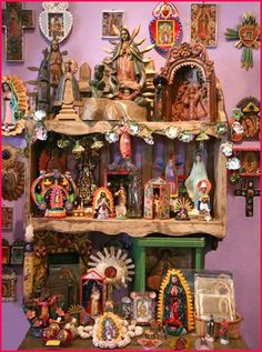 The Virgin Of Guadalupe~Virgin of Guadalupe altar Religious Icons, Religious Art, Madonna, Kitsch, La Madone, Home Altar, Blessed Virgin Mary, Assemblage Art, Mexican Folk Art