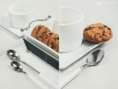 Biscuits with chocolate drops and cup of milk