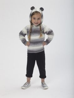 This Panda Pullover would look just adorable on them as they open holiday gifts. Knit it with our newest yarn, Ice Cream! Knitting For Kids, Baby Knitting Patterns, Knitting Projects, Circular Knitting Needles, Knitting Yarn, Lion Brand Yarn, Knit Or Crochet, Clothing Patterns, Knitted Hats