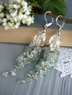 Long stone earrings Green fluorite rock crystal earrings bridesmaids earrings dangle earrings statement earrings fashion quartz earrings - pinned by pin4etsy.com