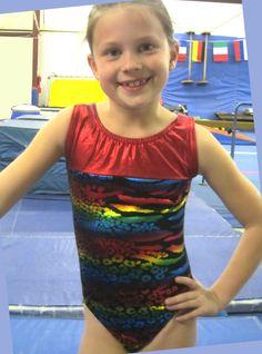 Gymnastics Leotard Girls Sz Child 10 Metallic Rainbow Animal Print Red Yoke Leos   eBay