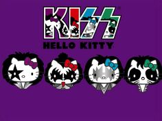 Hk Hello Kitty Tattoos, Hello Kitty Art, Hello Kitty Images, Hello Kitty Birthday, Hello Kisses, Kiss Rock Bands, Kiss Art, Hello Kitty Wallpaper, Kawaii