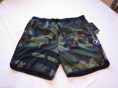 Hurley active shorts hybrid XL block party green Camoflauge camo Men's wicks  #Hurley #shorts