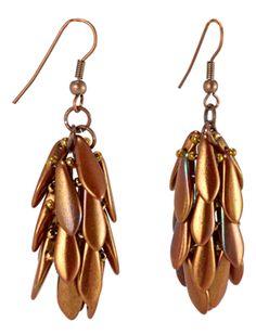 Pinecone Earrings by Svetlana Einy - Beading Instructions - from Beading Daily  #Seed #Bead #Tutorials