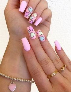 Hottest Pink Heart Nail Art Designs for 2019 Just Browse here and check out the Recent Styles of Pink Nail Art Designs with the Heart Images. If you also want to update your look of your nails then this style for you. Pink Acrylic Nail Designs, Valentine's Day Nail Designs, Pink Acrylic Nails, Pink Nail Art, Nails Design, Heart Nail Designs, Simple Acrylic Nail Ideas, Awesome Nail Designs, Nail Art Ideas